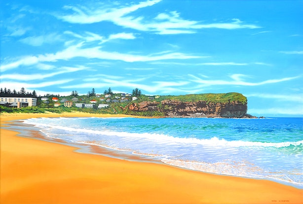 (CreativeWork) Mona Vale Beach Looking North by Mark Kingston. Oil Paint. Shop online at Bluethumb.