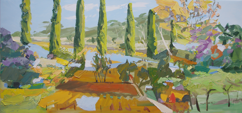(CreativeWork) Cypresses and Exotics by Lise Temple. Oil Paint. Shop online at Bluethumb.