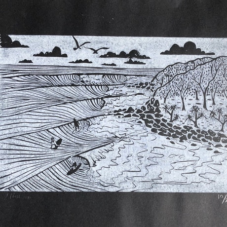 (CreativeWork) Surf at Noosa Ed. 10 of 28 by Lily Hass. Print. Shop online at Bluethumb.
