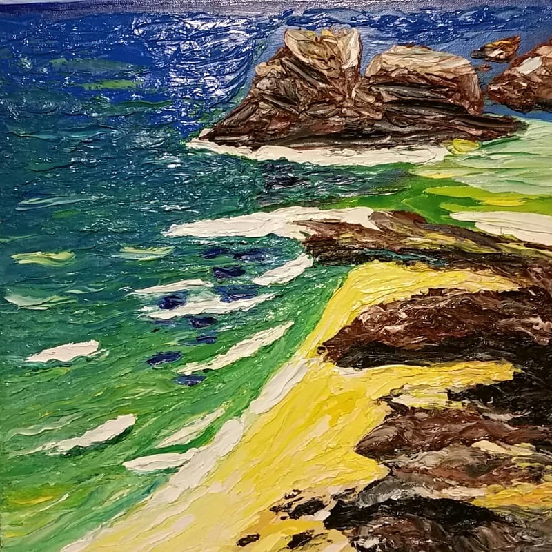 (CreativeWork) On Shore Byron Bay by Jane Fenech. Oil Paint. Shop online at Bluethumb.