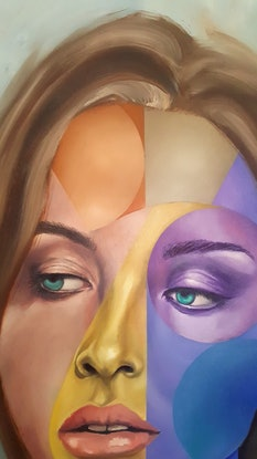 (CreativeWork) Face One with Yellow by Jonny Southgate. Oil Paint. Shop online at Bluethumb.
