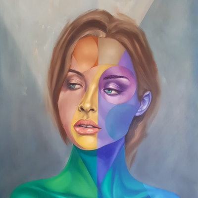 (CreativeWork) Face One with Yellow by Jonny Southgate. oil-painting. Shop online at Bluethumb.