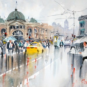 (CreativeWork) Rainy Day Flinders Street, Melbourne by Chrysovalantou Mavroudis. watercolour. Shop online at Bluethumb.