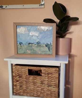 (CreativeWork) Sheep and Sky at Glenmire Station by Katherine Warburton. Oil Paint. Shop online at Bluethumb.