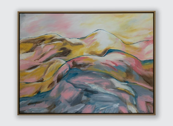 (CreativeWork) Sunset Peaks by Rachel Prince. Acrylic Paint. Shop online at Bluethumb.