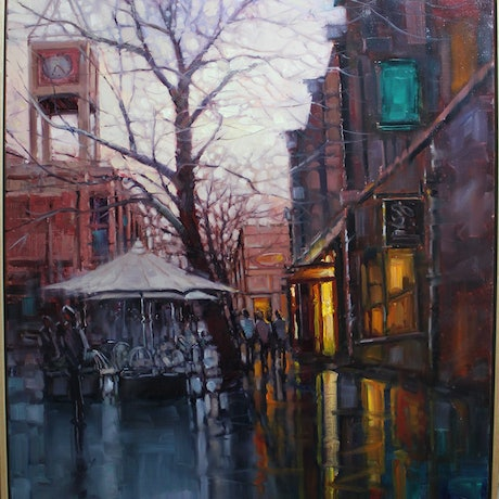 (CreativeWork) Evening at The Rocks, Sydney by HIREN PATEL. Oil Paint. Shop online at Bluethumb.