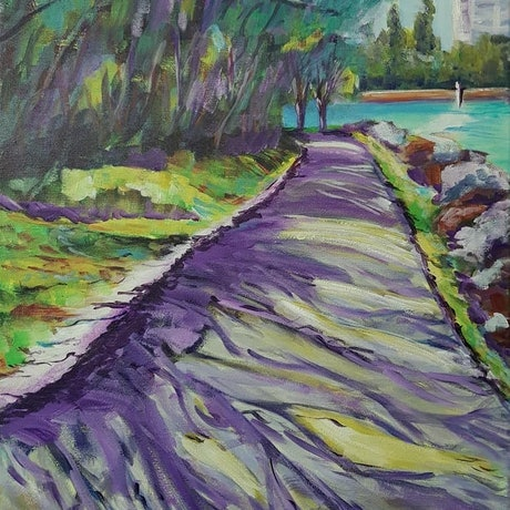 (CreativeWork) SHADOWS ON THE RIVER PATH by Leigh Elks. Acrylic Paint. Shop online at Bluethumb.