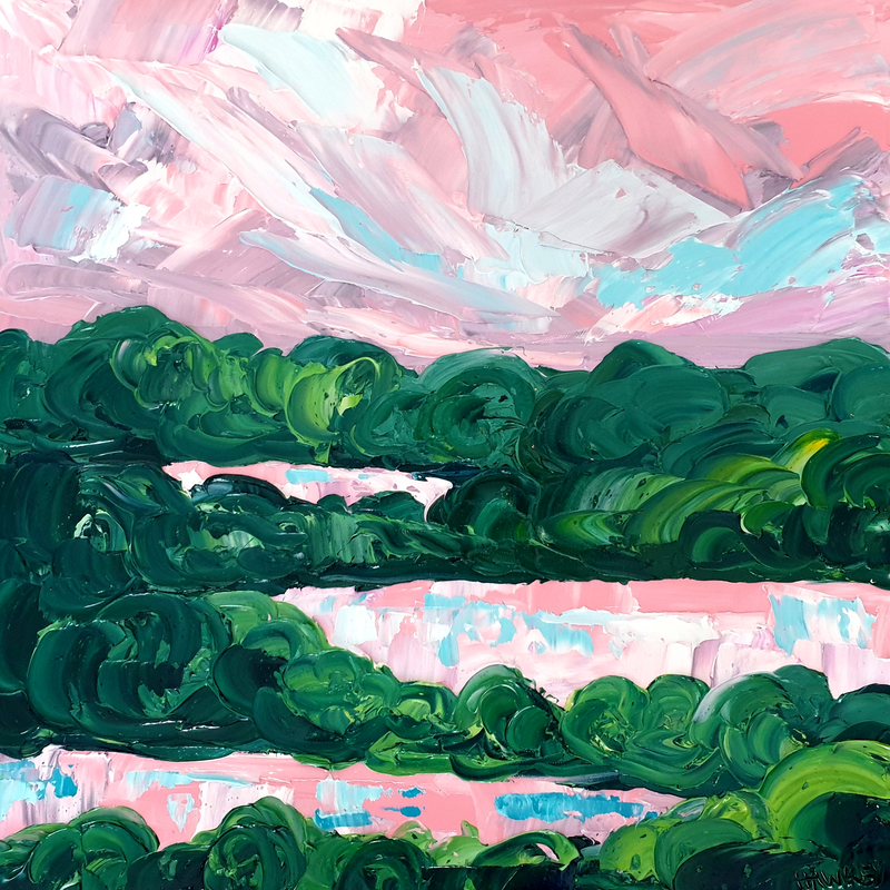 (CreativeWork) Shepherd's Delight 3 - Abstract Landscape Painting by Angela Hawkey. Oil Paint. Shop online at Bluethumb.