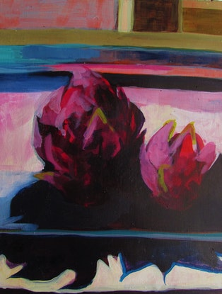 (CreativeWork) dragon fruit by Helen Evans. Acrylic Paint. Shop online at Bluethumb.
