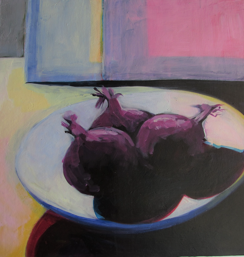 (CreativeWork) red onions by Helen Evans. Acrylic Paint. Shop online at Bluethumb.