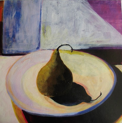 (CreativeWork) bosc pear by Helen Evans. Acrylic Paint. Shop online at Bluethumb.