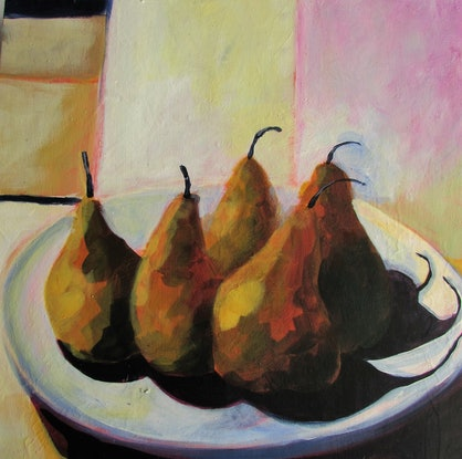 (CreativeWork) five bosc pears by Helen Evans. Acrylic Paint. Shop online at Bluethumb.