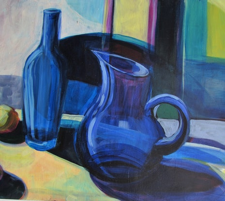 (CreativeWork) on the shelf : blue by Helen Evans. Acrylic Paint. Shop online at Bluethumb.