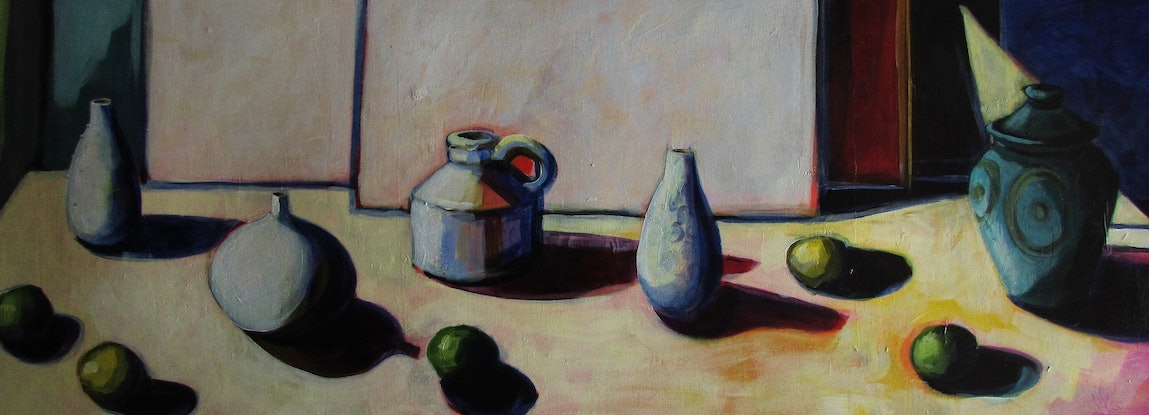 (CreativeWork) on the shelf with limes by Helen Evans. Acrylic Paint. Shop online at Bluethumb.
