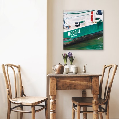 (CreativeWork) Moggill Ferry by Meredith Howse. Oil Paint. Shop online at Bluethumb.