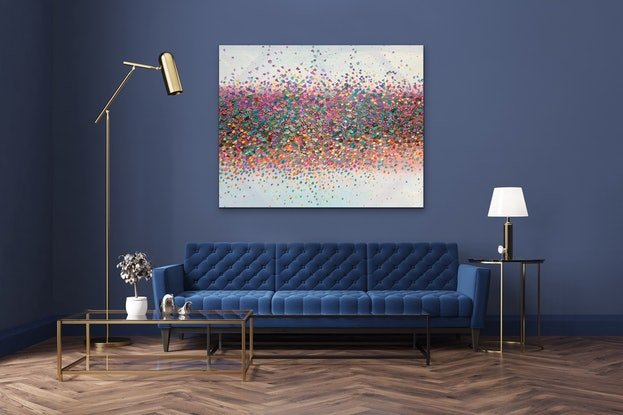 (CreativeWork) Sparkling Stars. by Theo Papathomas. Oil Paint. Shop online at Bluethumb.