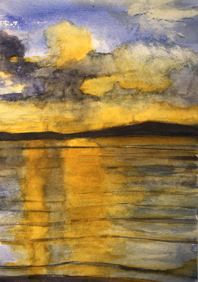 (CreativeWork) Sunset After The Storm by Noela O'Keefe. Watercolour Paint. Shop online at Bluethumb.
