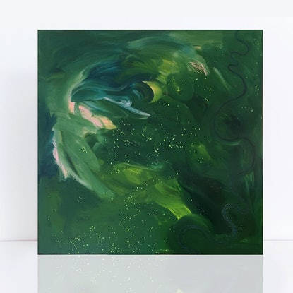 (CreativeWork) Coastal Creek - abstract aerial landscape by Jennifer Bell. Acrylic Paint. Shop online at Bluethumb.