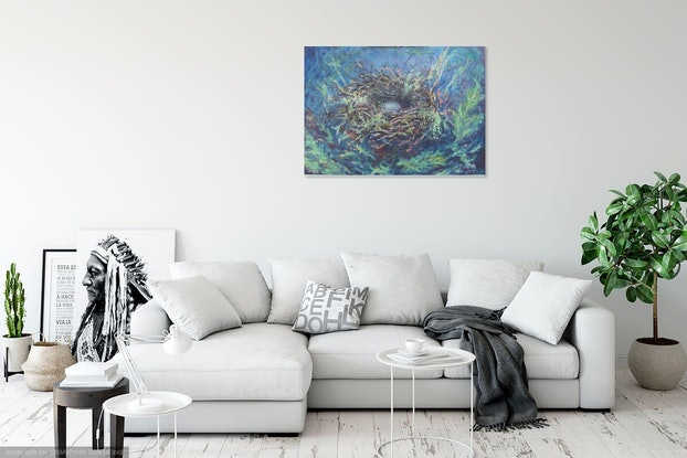 (CreativeWork) A beautiful nest (canvas print, stretched) by Deborah Pienaar. Print. Shop online at Bluethumb.