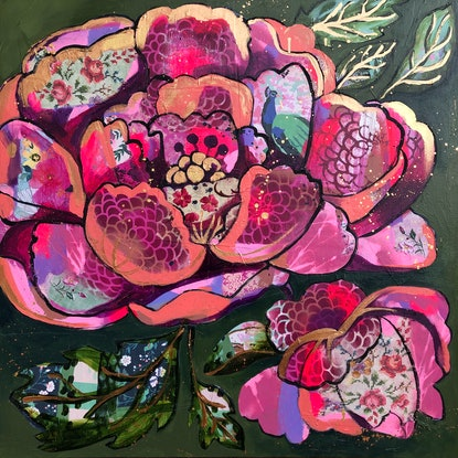 (CreativeWork) Peacock Peony by Sandra Oost. Mixed Media. Shop online at Bluethumb.