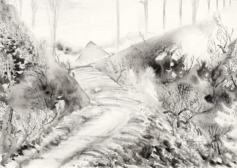 (CreativeWork) Forest Road Abstraction by Lewis Smart. Watercolour Paint. Shop online at Bluethumb.
