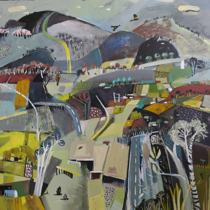 (CreativeWork) Abstract Landscape - Roads and Bridges by Susan Trudinger. Acrylic Paint. Shop online at Bluethumb.