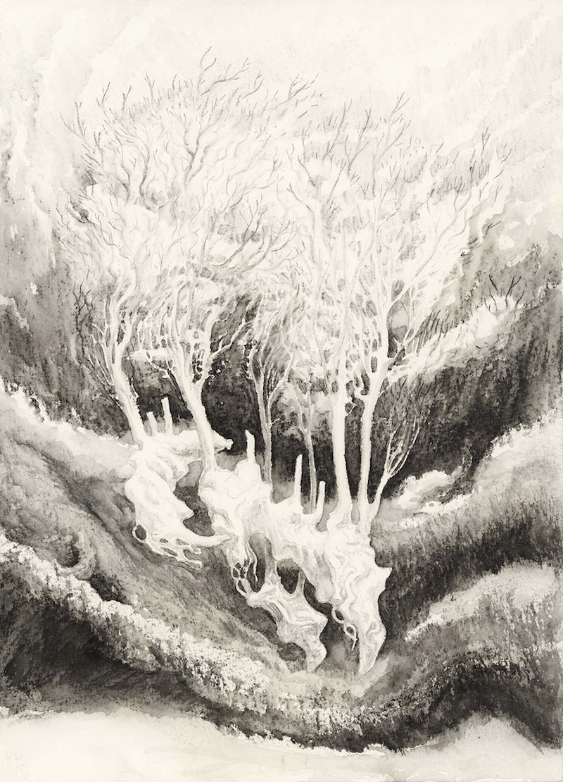 (CreativeWork) Ghost Trees in the Void by Lewis Smart. Watercolour Paint. Shop online at Bluethumb.
