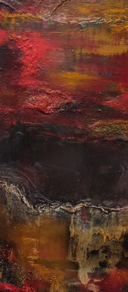 (CreativeWork) red sunset  by Jane McCumstie. Mixed Media. Shop online at Bluethumb.