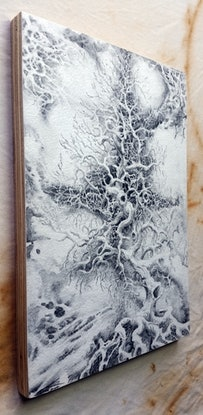 (CreativeWork) Ghost Tree emerges from the void by Lewis Smart. Watercolour Paint. Shop online at Bluethumb.