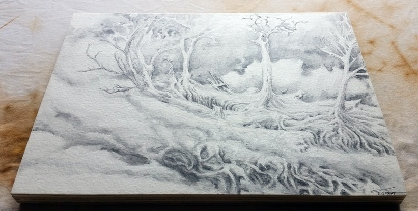 (CreativeWork) Edge of the Ghost Forest by Lewis Smart. Watercolour Paint. Shop online at Bluethumb.