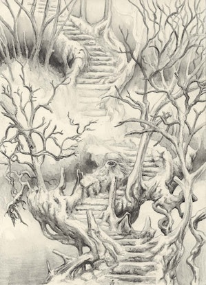 (CreativeWork) Stairway through Ghost Forest by Lewis Smart. Watercolour Paint. Shop online at Bluethumb.