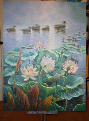 (CreativeWork) On the lake by Valentin Varetsa. Oil Paint. Shop online at Bluethumb.
