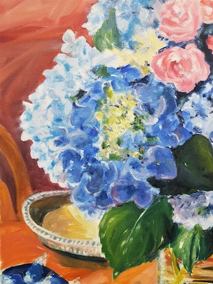 (CreativeWork) FLOWERS FROM BEN by Suzy Strout. Oil Paint. Shop online at Bluethumb.