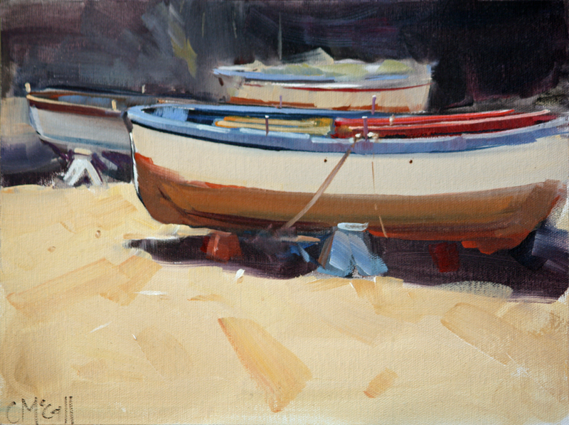 (CreativeWork) Three Boats - Limited Edition Giclee Art Print Ed. 4 of 100 by Claire McCall. Print. Shop online at Bluethumb.