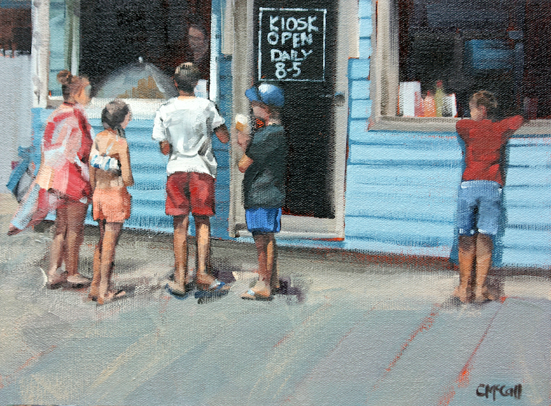 (CreativeWork) Beach Kiosk - Limited Edition Giclee Art Print  Ed. 4 of 100 by Claire McCall. Print. Shop online at Bluethumb.