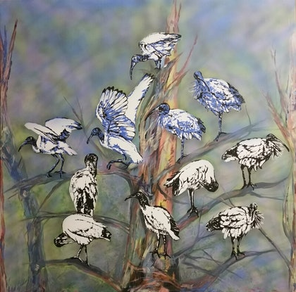 (CreativeWork) Ibis by Susan Willemse. Acrylic Paint. Shop online at Bluethumb.