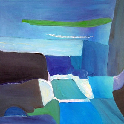 (CreativeWork) Tossed Light Over Sunken Pool by Ulla Heckel. Oil Paint. Shop online at Bluethumb.