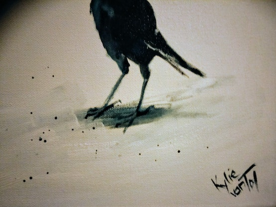 "(CreativeWork) ""magpies"" by Kylie van Tol. Acrylic Paint. Shop online at Bluethumb."