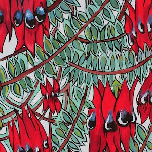 (CreativeWork) Sturt's Desert Pea by Rebecca Read. oil-painting. Shop online at Bluethumb.