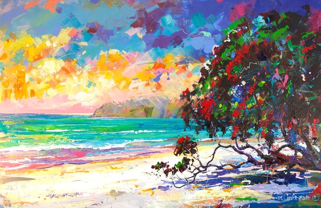 (CreativeWork) Pohutukawa (New Zealand Christmas Tree) by Jos Coufreur. Acrylic Paint. Shop online at Bluethumb.
