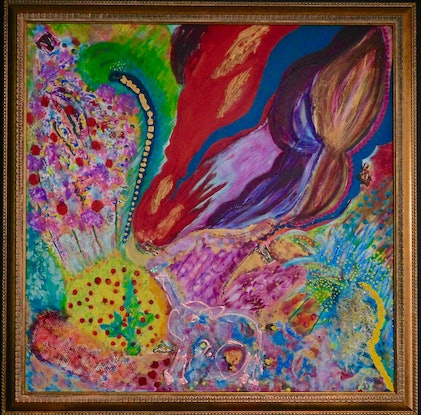 (CreativeWork) Fantasy Fun by Aileen Smith. Acrylic Paint. Shop online at Bluethumb.