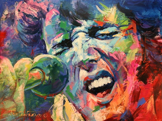 (CreativeWork) Elvis Presley by Jos Coufreur. Acrylic Paint. Shop online at Bluethumb.