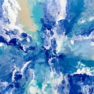 "(CreativeWork) ""Blue Day"" large abstract modern painting by Debra Ryan. mixed-media. Shop online at Bluethumb."