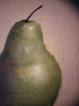 (CreativeWork) Lonely pear by Kylie van Tol. Acrylic Paint. Shop online at Bluethumb.