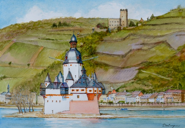 (CreativeWork) Castles on the Rhine by Dai Wynn. Watercolour Paint. Shop online at Bluethumb.