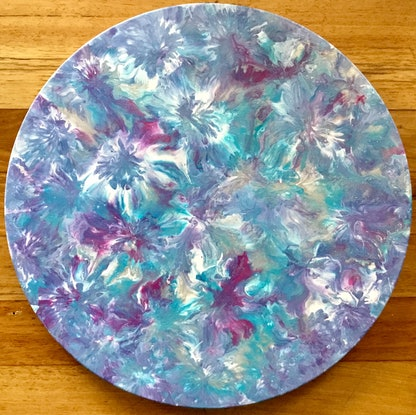 """(CreativeWork) """"Funky Flowers"""" round  modern floral painting on canvas  by Debra Ryan. Mixed Media. Shop online at Bluethumb."""
