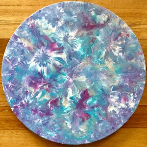 "(CreativeWork) ""Funky Flowers"" round  modern floral painting on canvas  by Debra Ryan. mixed-media. Shop online at Bluethumb."