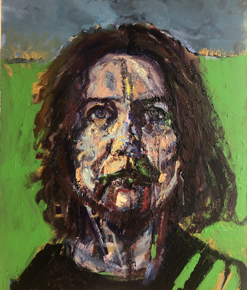 (CreativeWork) Self Portrait (thinking about climate change) by Rachel Grove. Acrylic Paint. Shop online at Bluethumb.