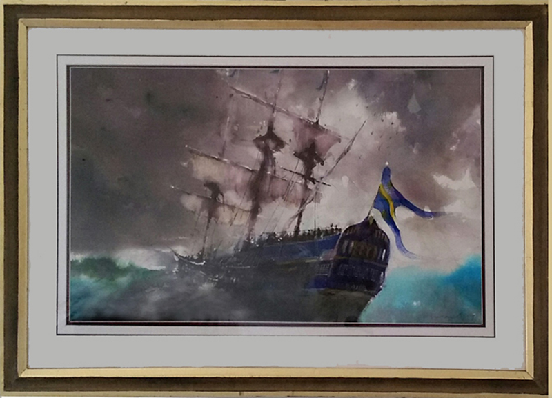 (CreativeWork) the pirate ship by peter smart. Watercolour Paint. Shop online at Bluethumb.