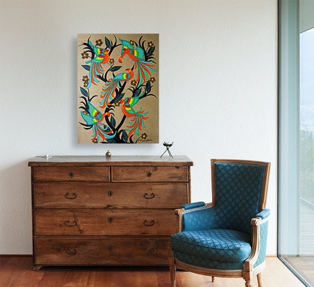 (CreativeWork) Birds and Blooms (No.4) by Lisa Dangerfield. Acrylic Paint. Shop online at Bluethumb.